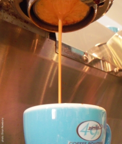 Producing the perfect cup of espresso at Espresso Cielo, Palm Springs, California, 2011