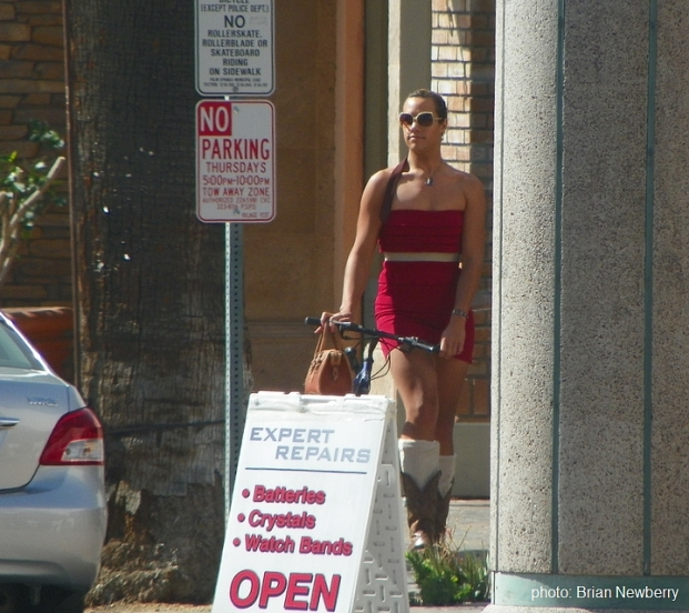 Red Dress over Cowboy Boots